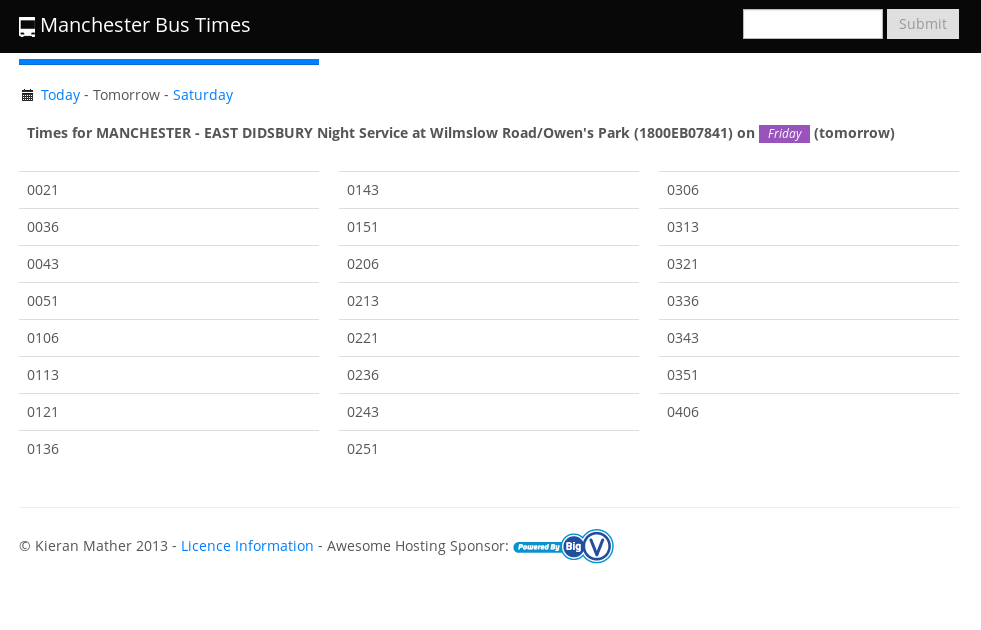 The website makes it easy to quickly and easily find bus times all over Manchester